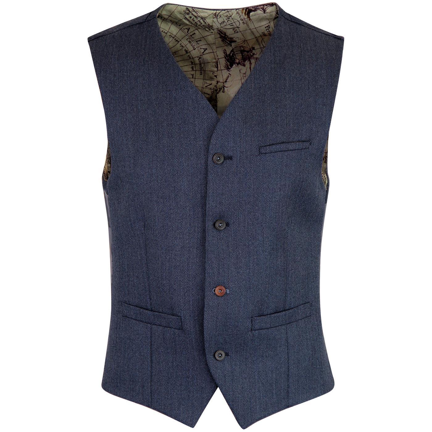 GIBSON LONDON 60s Mod Herringbone Waistcoat BLUE