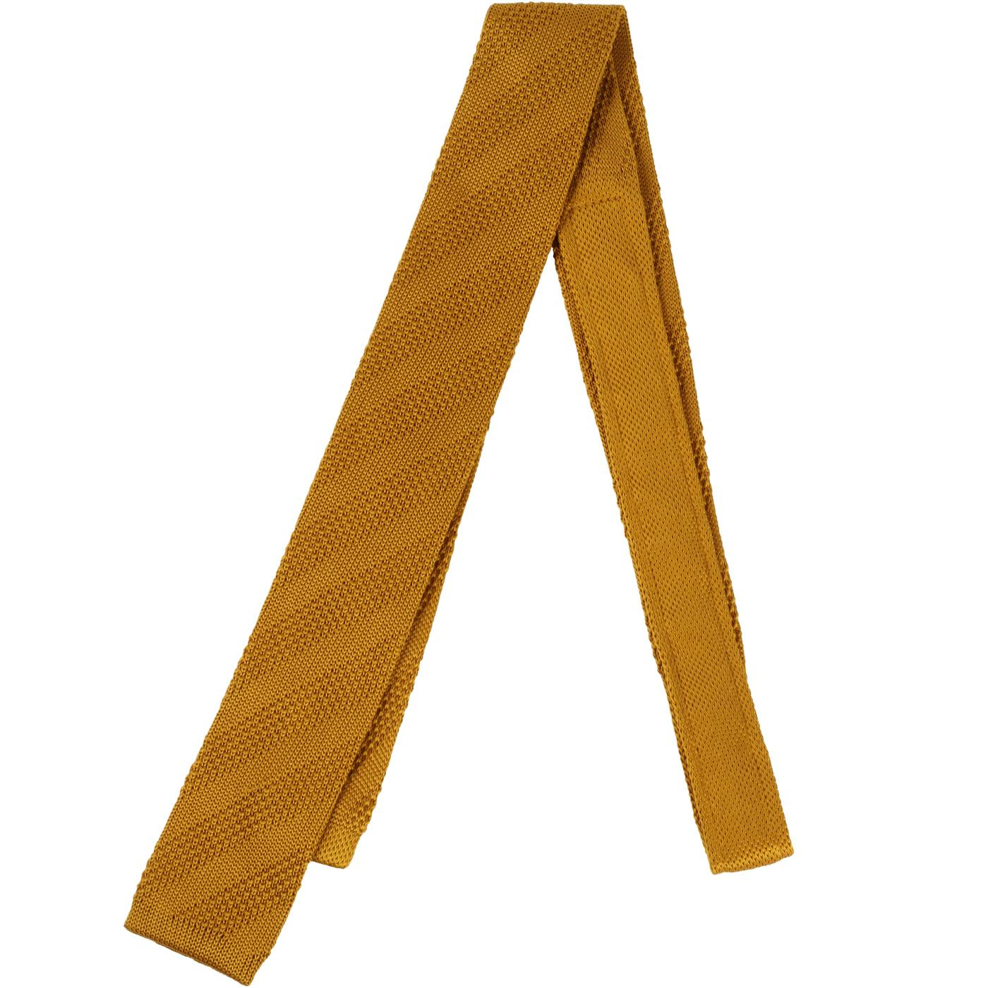 GIBSON LONDON Mod Square End Knitted Tie (Gold)