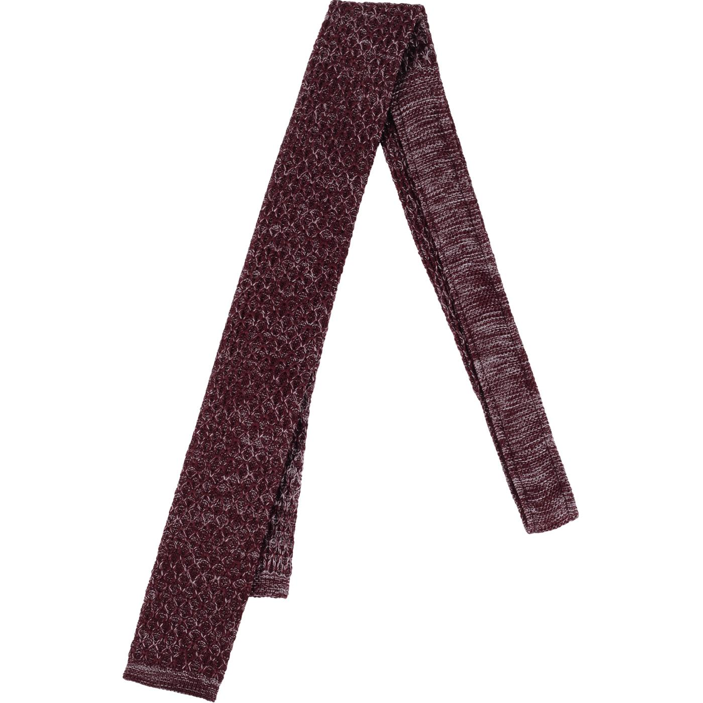GIBSON LONDON Square End Knit Tie (Berry Melange)