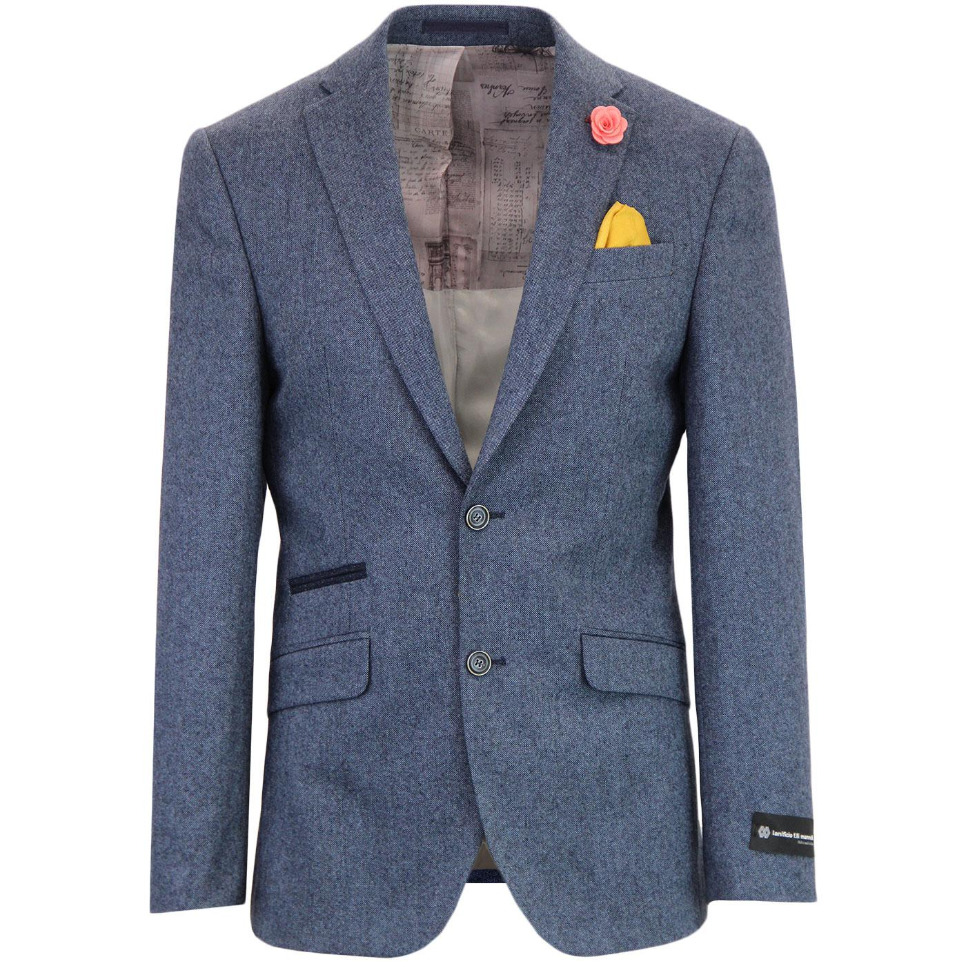 Men's 1960s Mod 2 Button Blue Donegal Suit Jacket