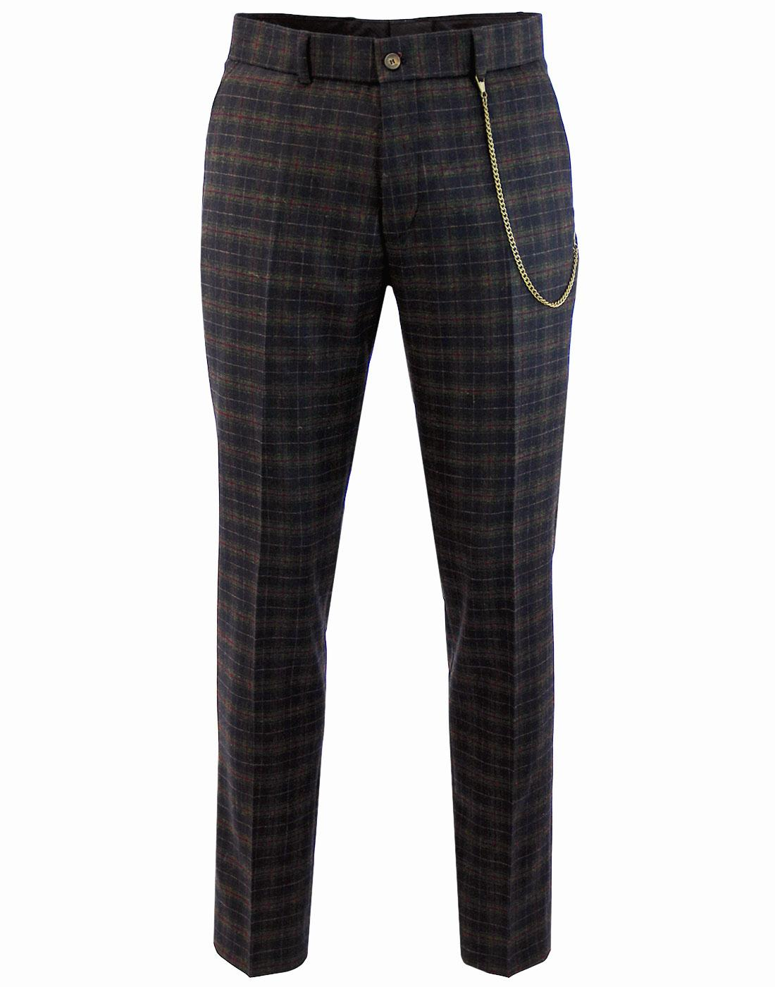 Towergate GIBSON LONDON Mod Tartan Suit Trousers