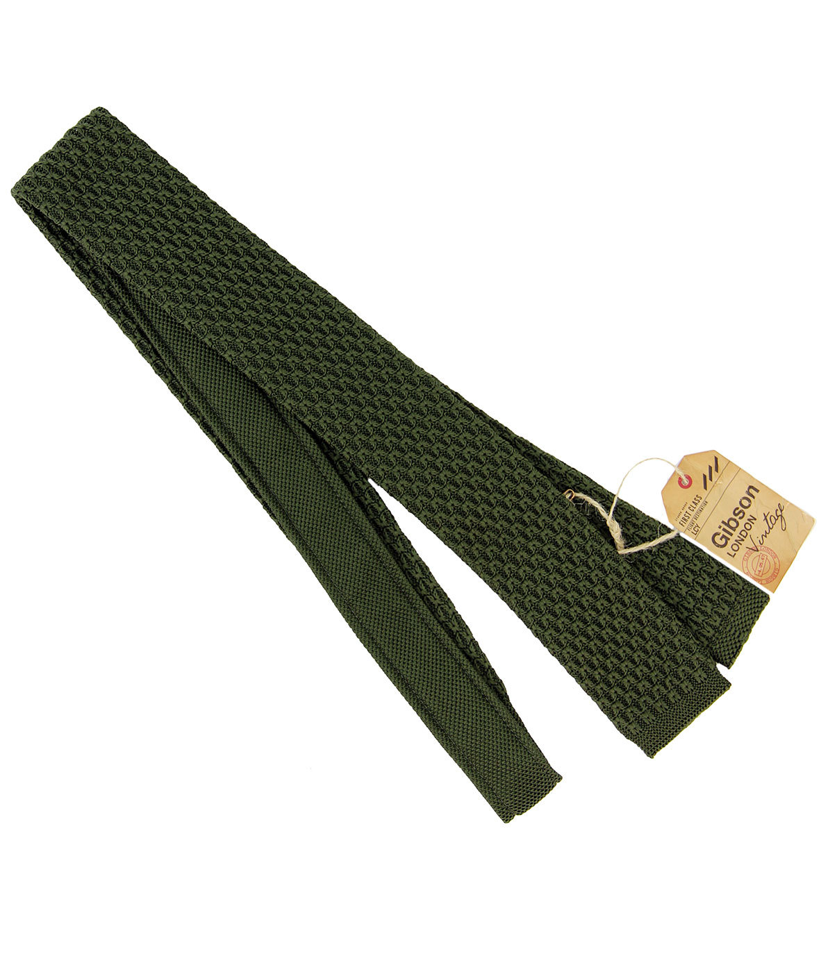 GIBSON LONDON 60s Mod Knitted Square End Tie OLIVE