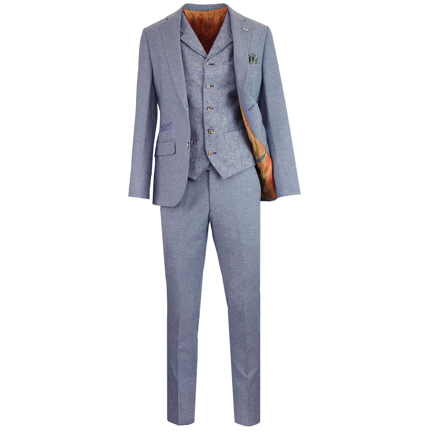 GIBSON LONDON Mod Check Suit & Linen Waistcoat
