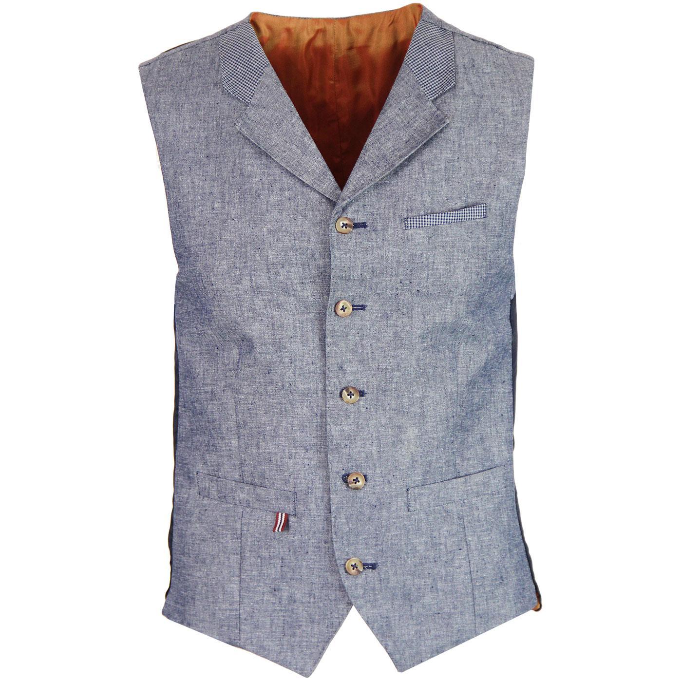 Tyburn GIBSON LONDON Mod 60s Mod Linen Waistcoat