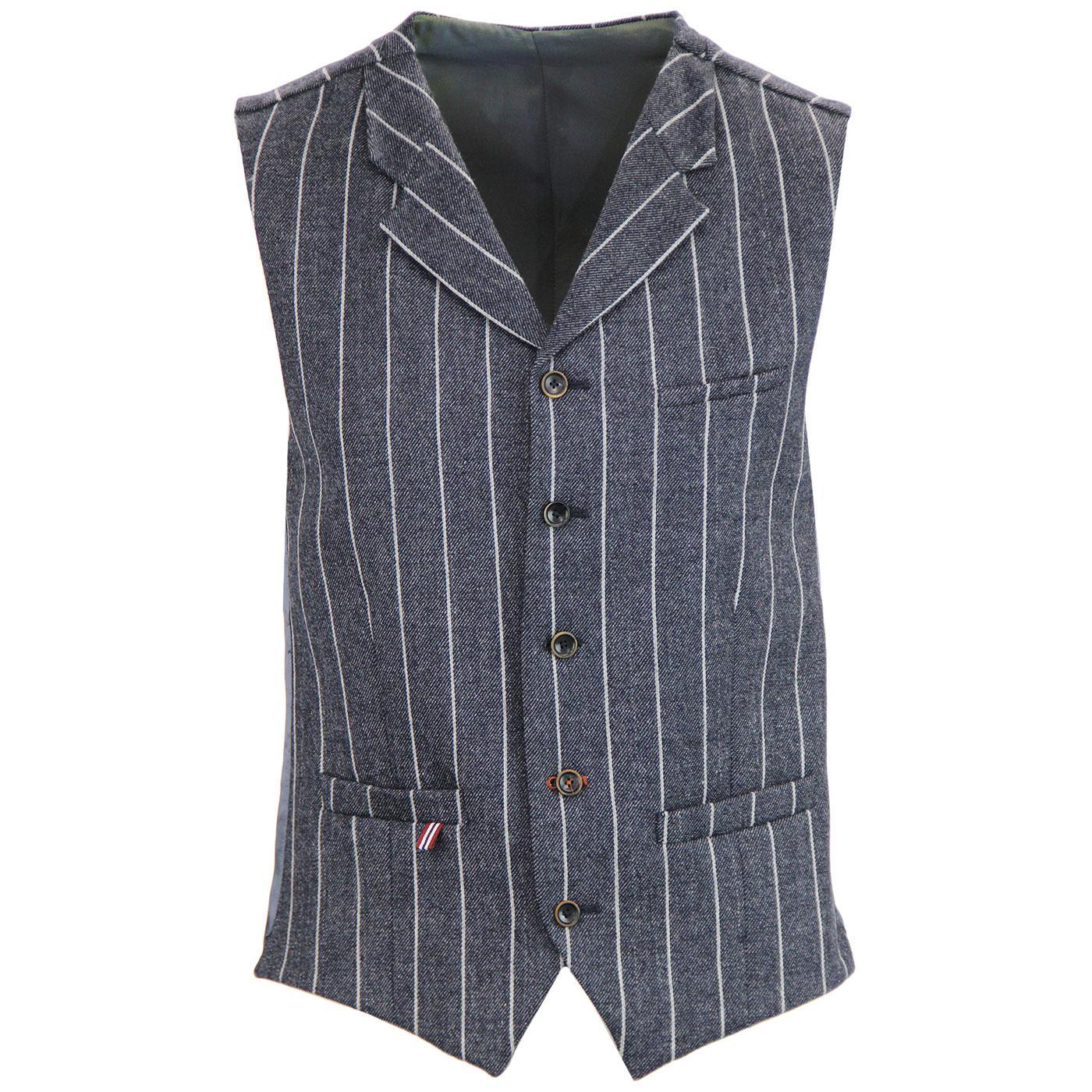 Tyburn GIBSON LONDON 60s Mod Wide Stripe Waistcoat