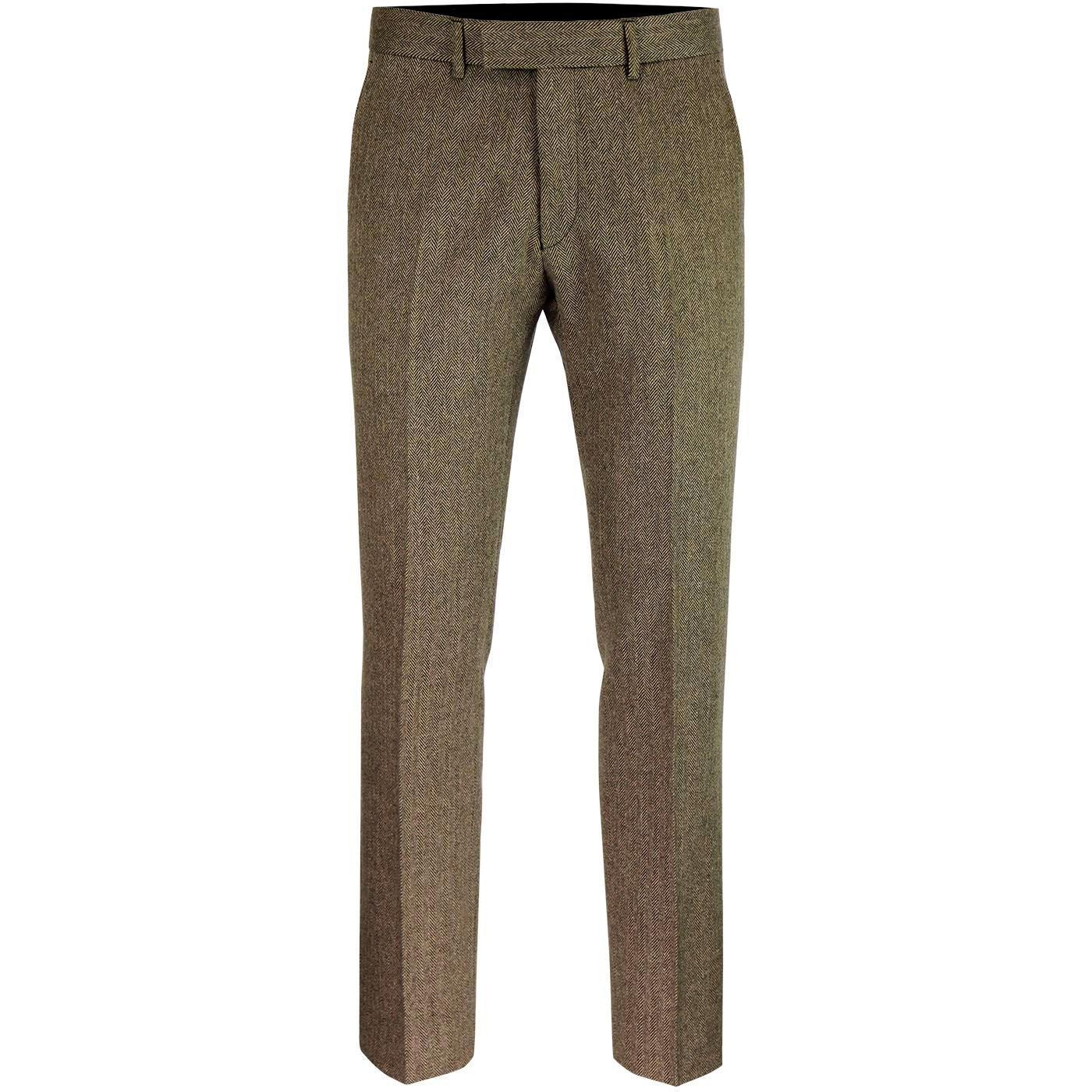 Radisson GIBSON LONDON Herringbone Trousers (Fawn)