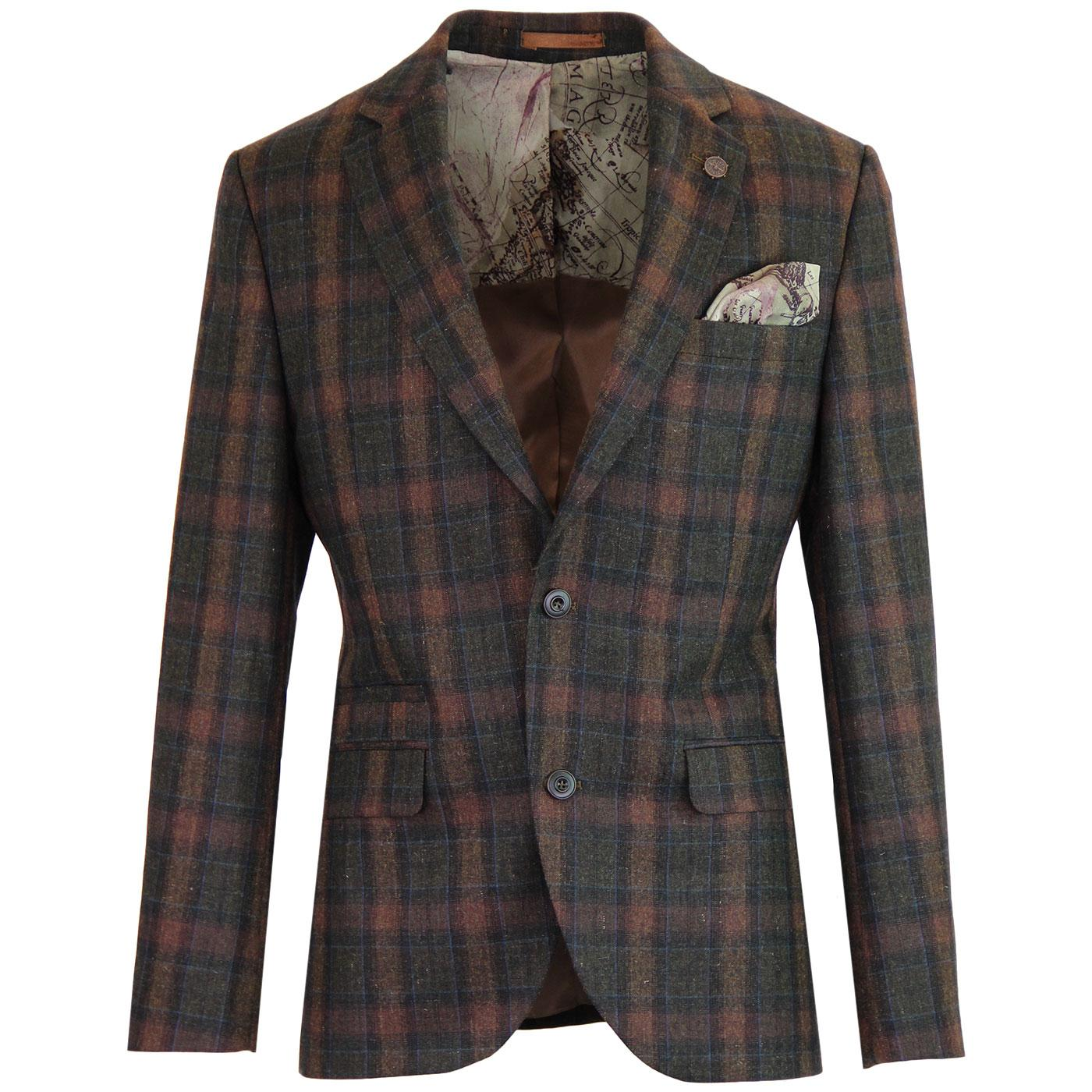 GIBSON LONDON Mod Tartan Check Suit Blazer SAGE