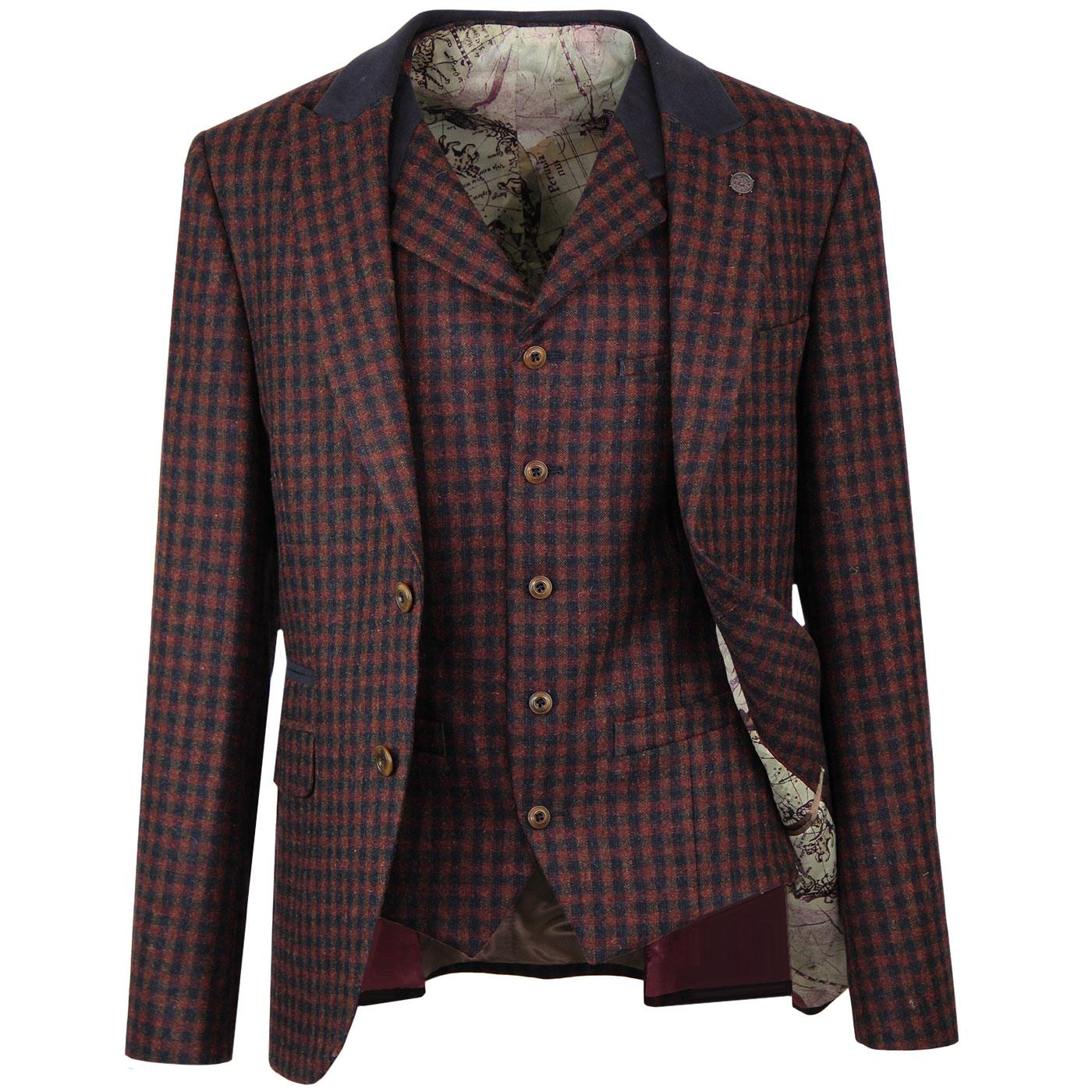 GIBSON LONDON Retro Teddy Boy Jacket & Waistcoat