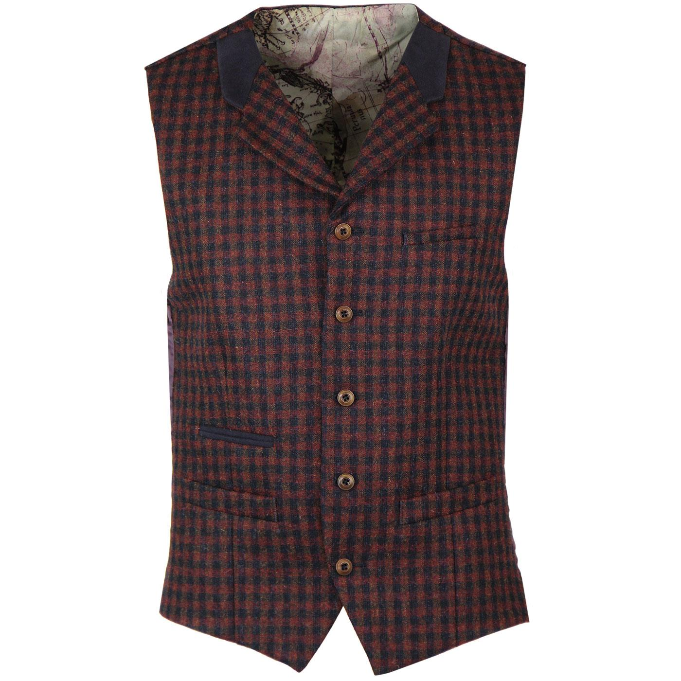 GIBSON LONDON Gingham Check Lapel Waistcoat (Red)