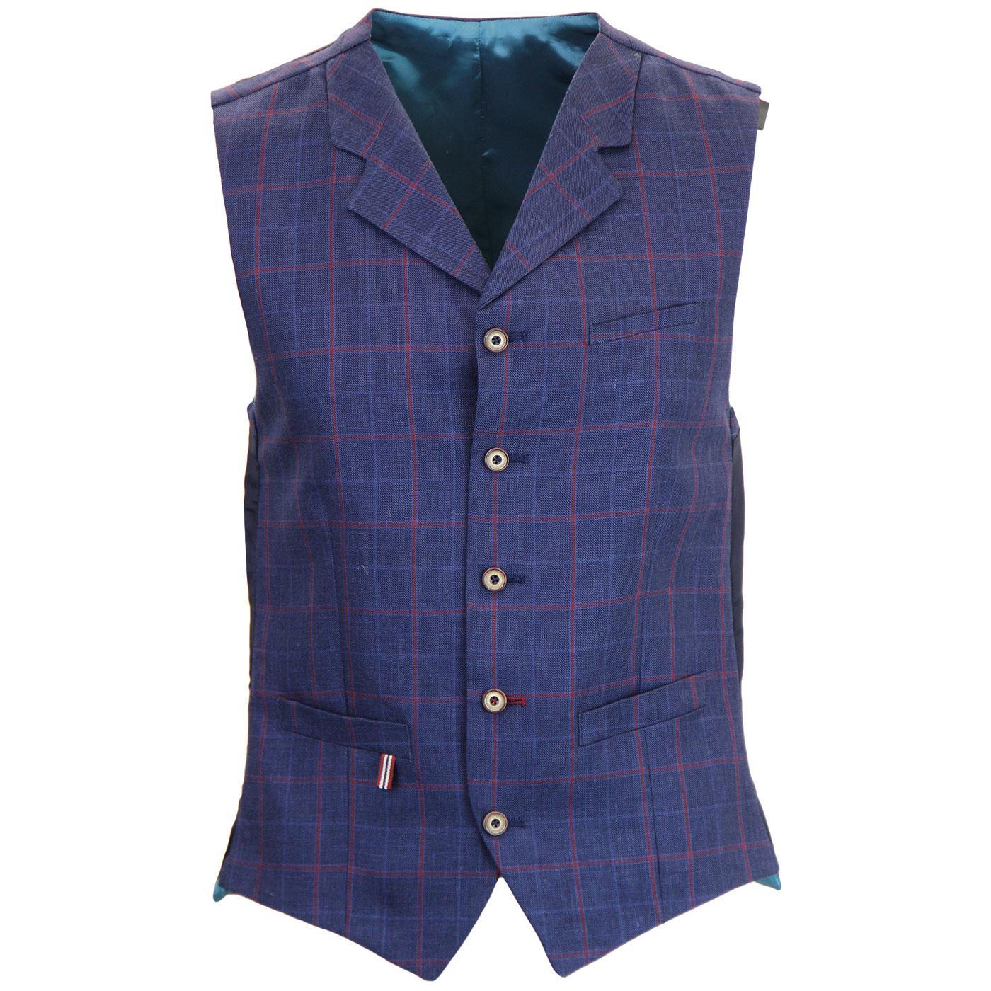 Tyburn GIBSON LONDON Mod Check Linen Waistcoat