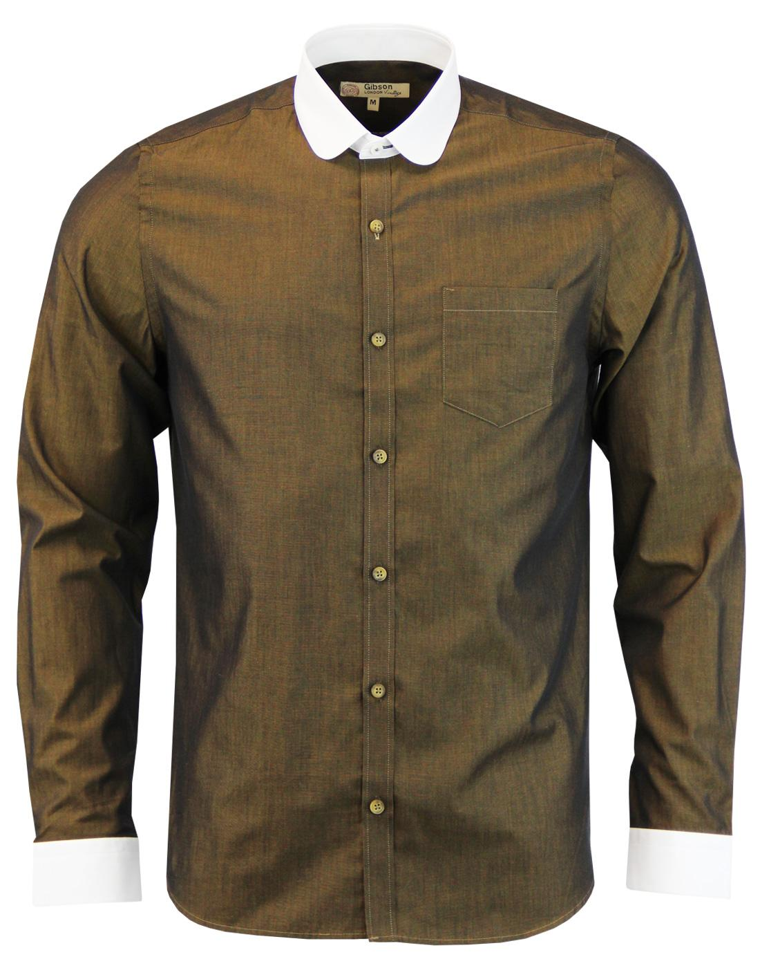 GIBSON LONDON 60s Mod Penny Round Collar Shirt (O)
