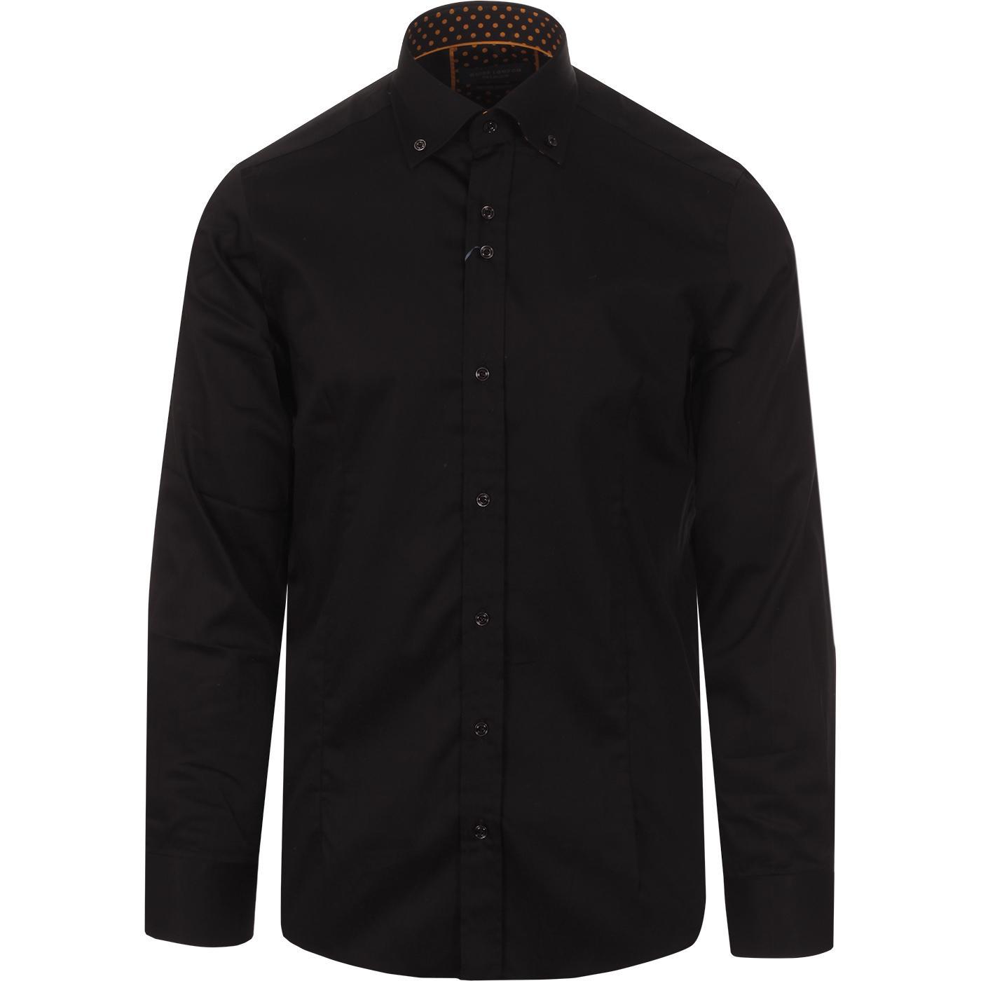 GUIDE LONDON Smart Plain Shirt w/ Polkadot Trim B
