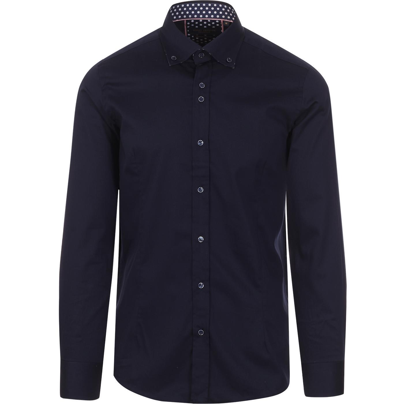 GUIDE LONDON Smart Plain Shirt w/ Polkadot Trim N
