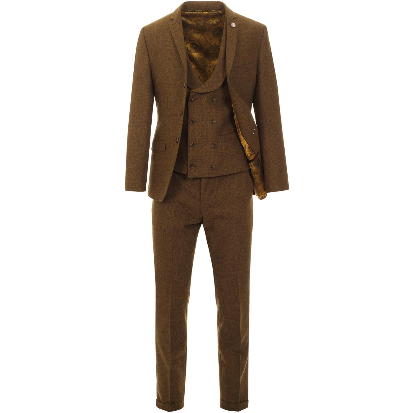 GIBSON LONDON 70s Mod Puppytooth Suit in Old Gold