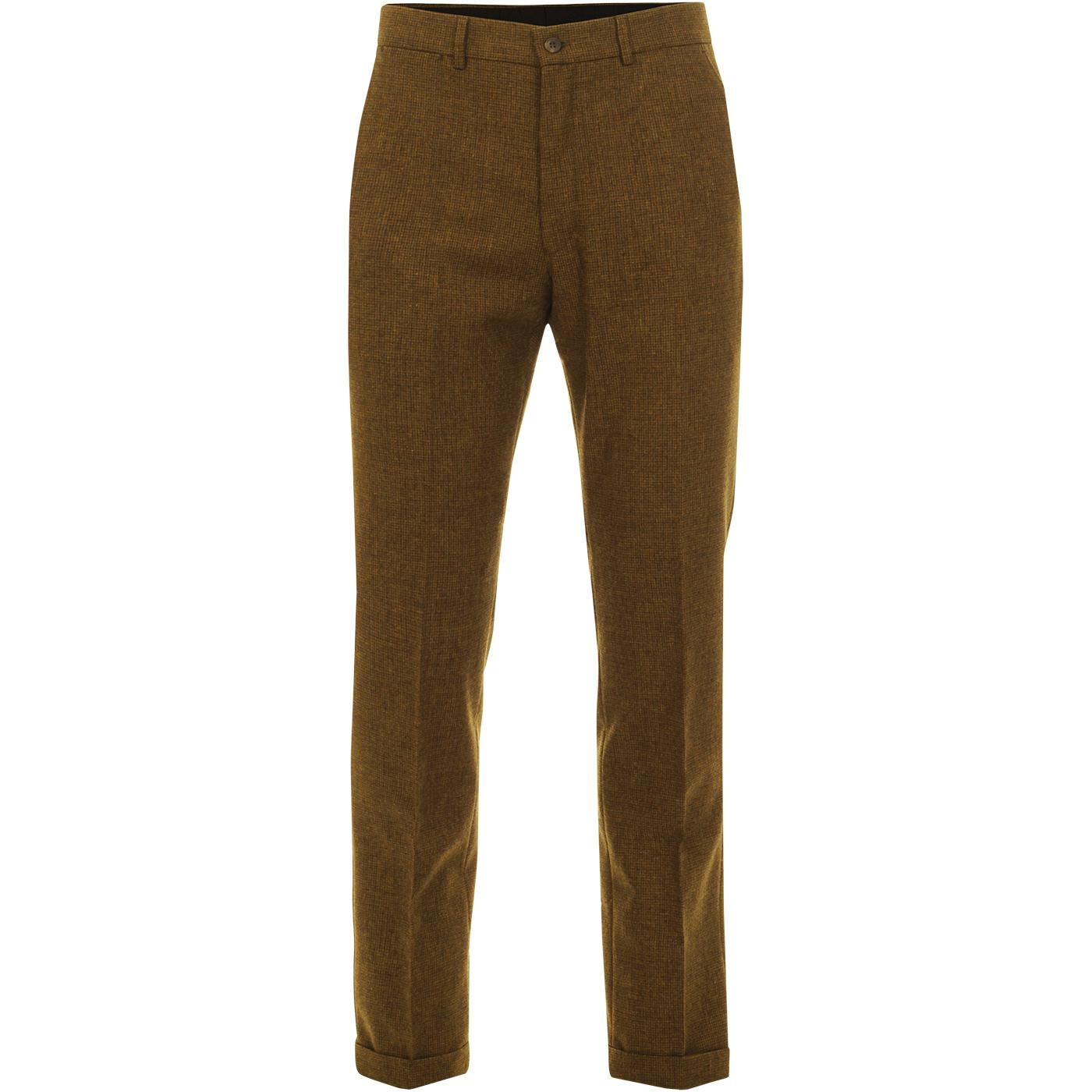 GIBSON LONDON Mod Puppytooth Trousers (Old Gold)