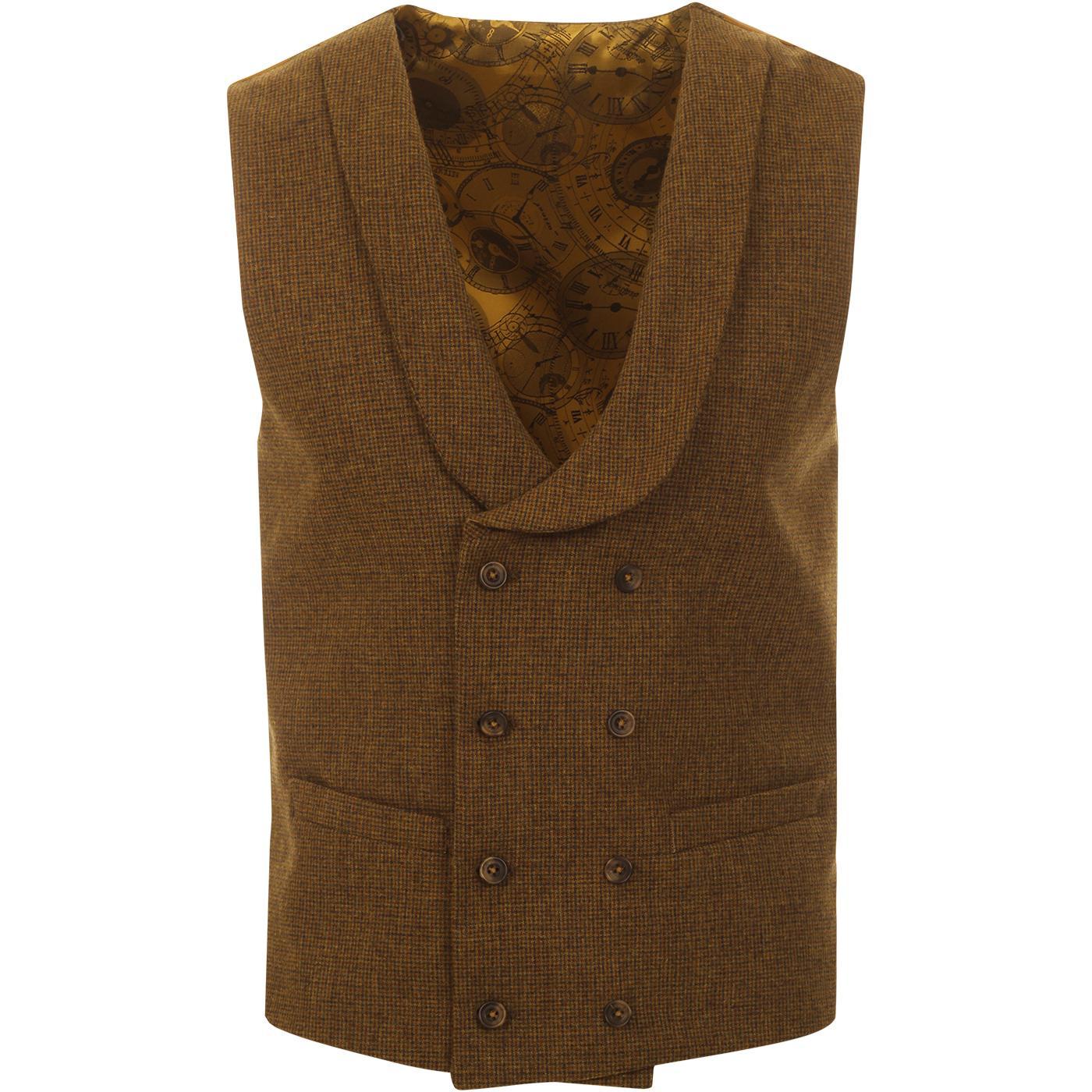GIBSON LONDON Puppytooth Shawl Collar Waistcoat