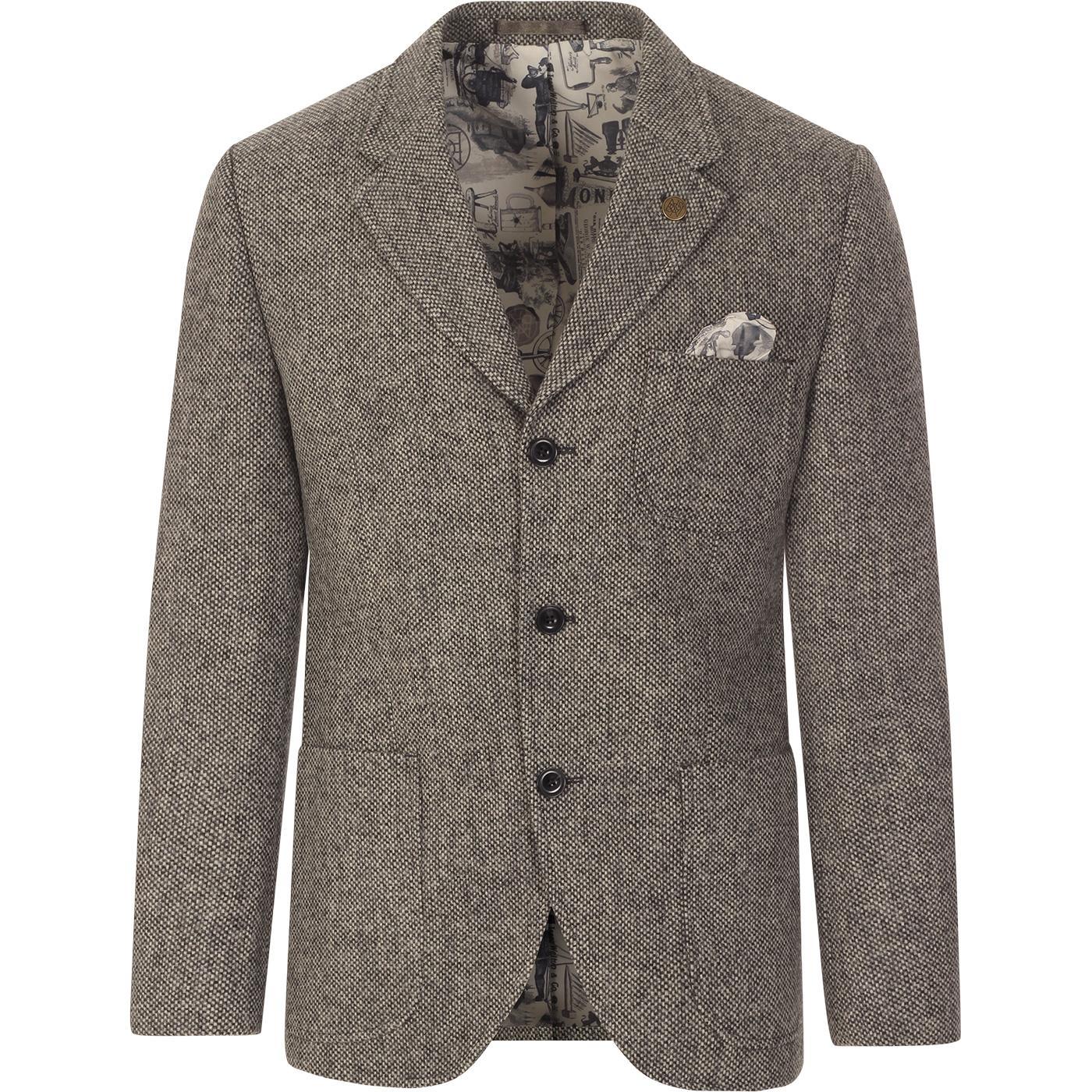 GIBSON LONDON Grey Shetland Birdseye Blazer Jacket