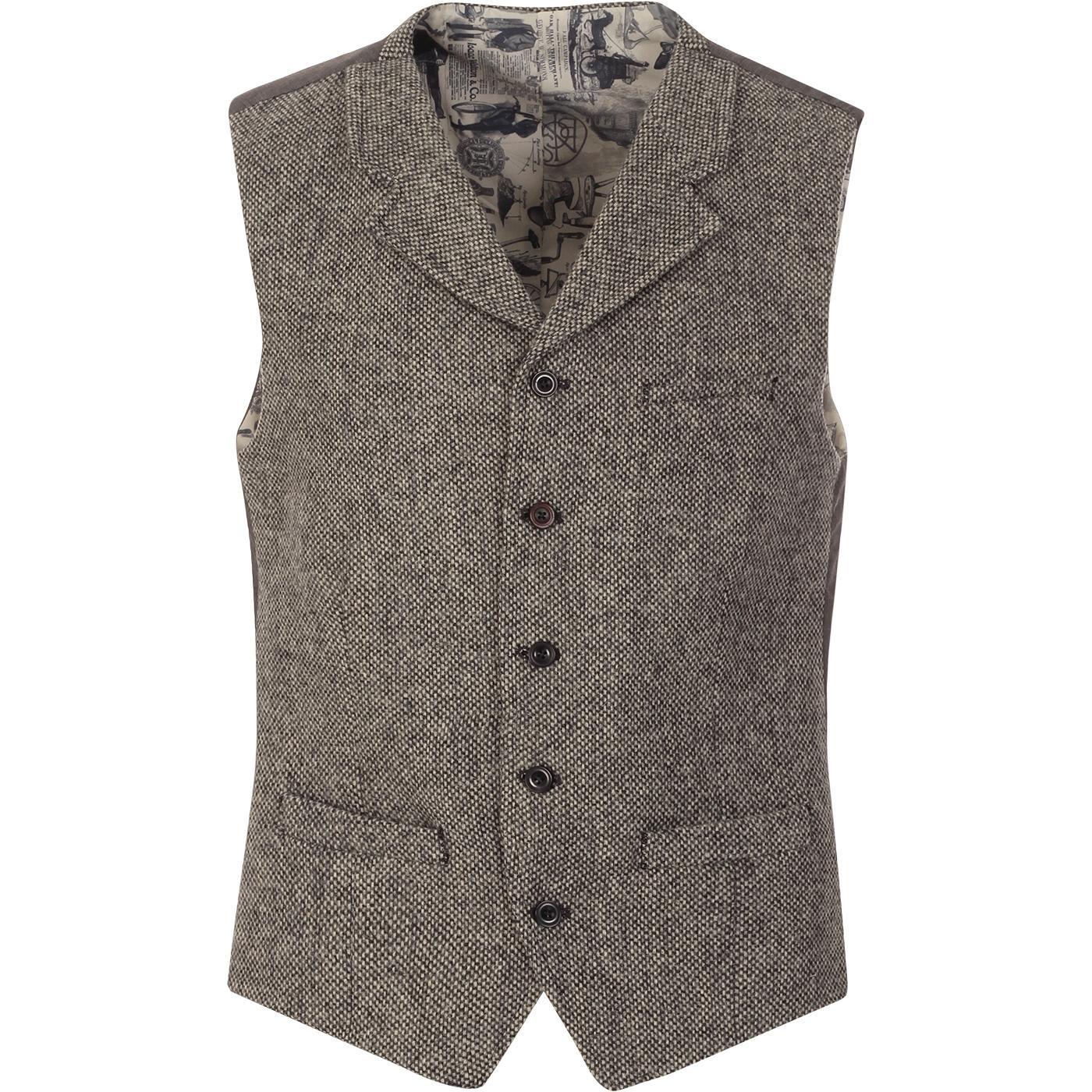 GIBSON LONDON Grey Shetland Birdseye Waistcoat