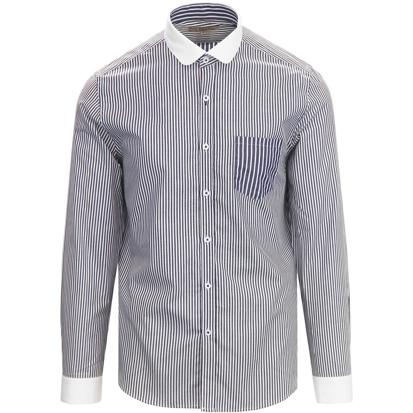 GIBSON LONDON Mod Penny Collar Stripe Shirt NAVY