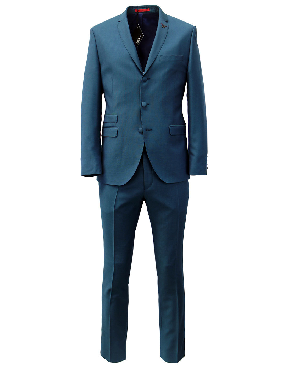 GIBSON LONDON Retro Mod Teal Hopsack Tonic Suit
