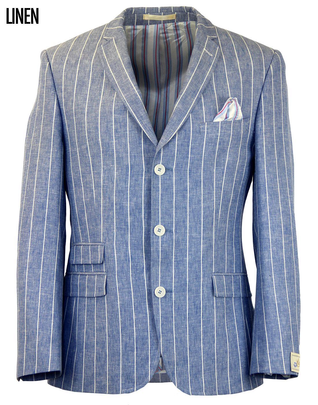 Retro 60s Mod Linen Stripe 3 Button Summer Blazer