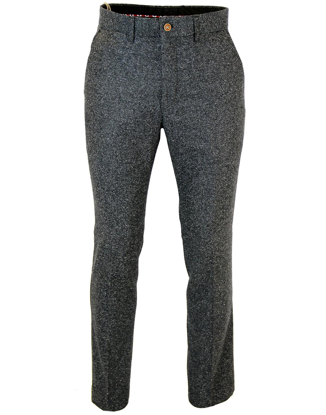 GIBSON LONDON Mod Donegal Flat Front Trousers (C)