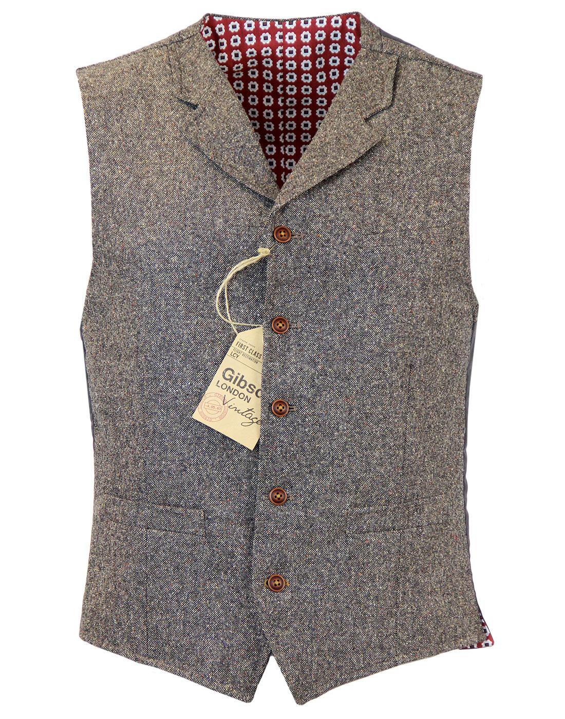 GIBSON LONDON High Fasten Donegal Waistcoat TAUPE