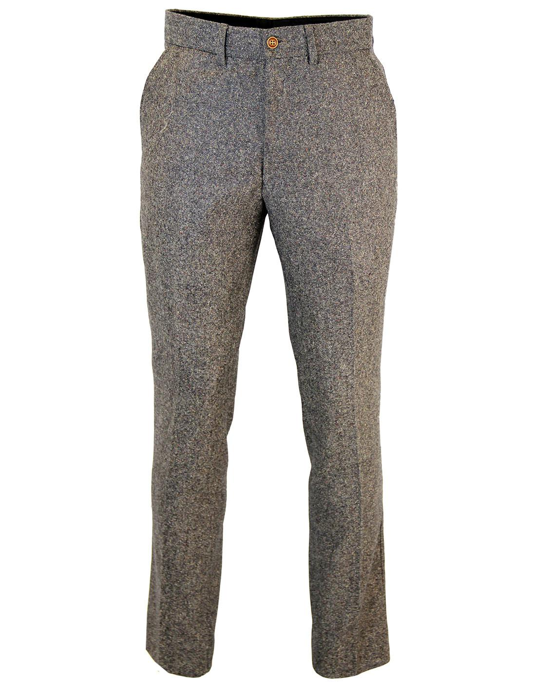 GIBSON LONDON Mod Donegal Flat Front Trousers (T)