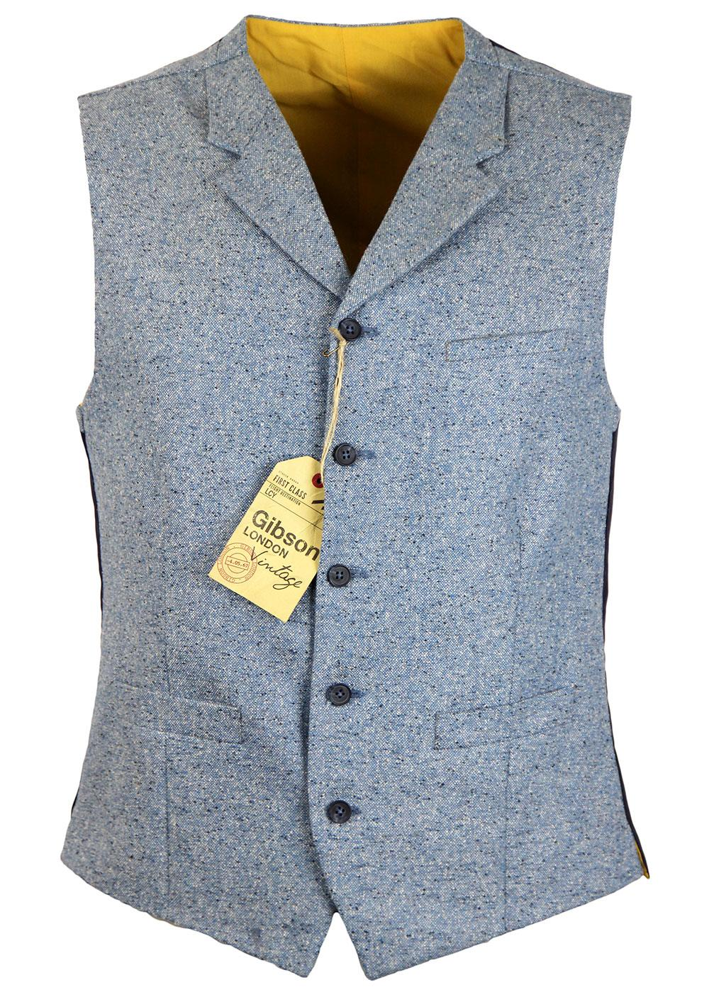 GIBSON LONDON 60s Mod Pale Blue Donegal Waistcoat