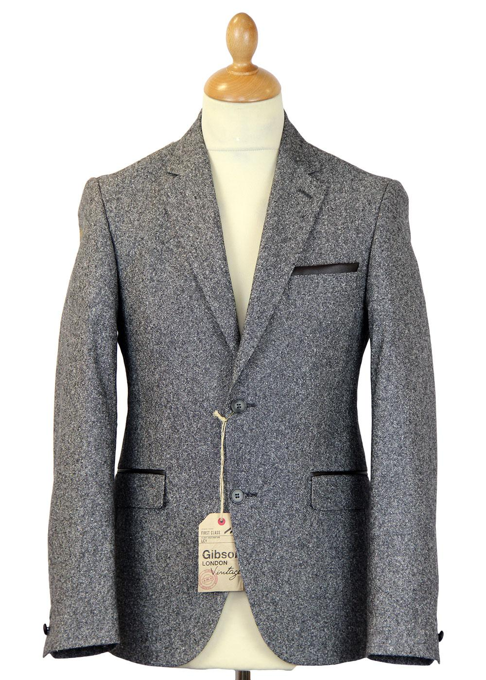 GIBSON LONDON Retro Mod Grey Donegal Suit Jacket