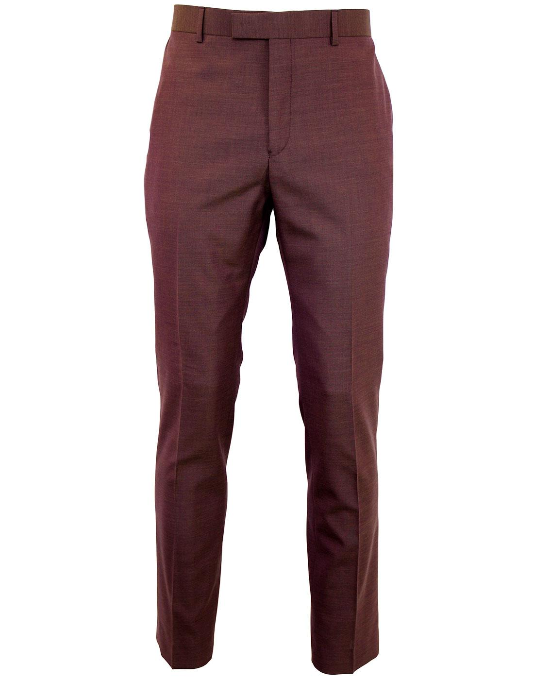 GIBSON LONDON Mod Slim Plum Tonic Suit Trousers