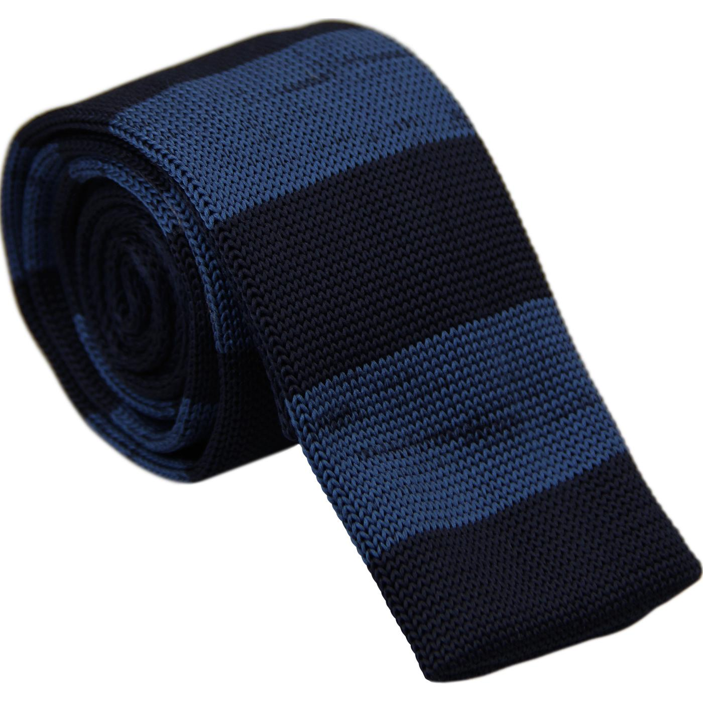 GIBSON LONDON Retro Mod Stripe Knitted Tie (Teal)
