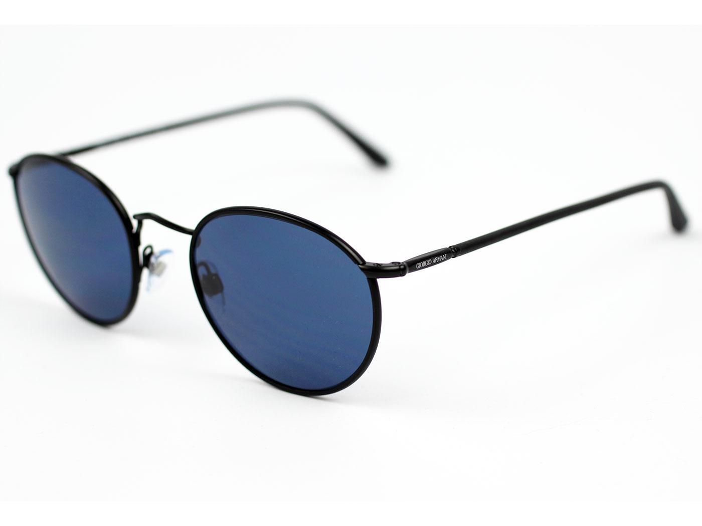Giorgio Armani Retro 60s Mod Fine Frame Round Sunglasses Black