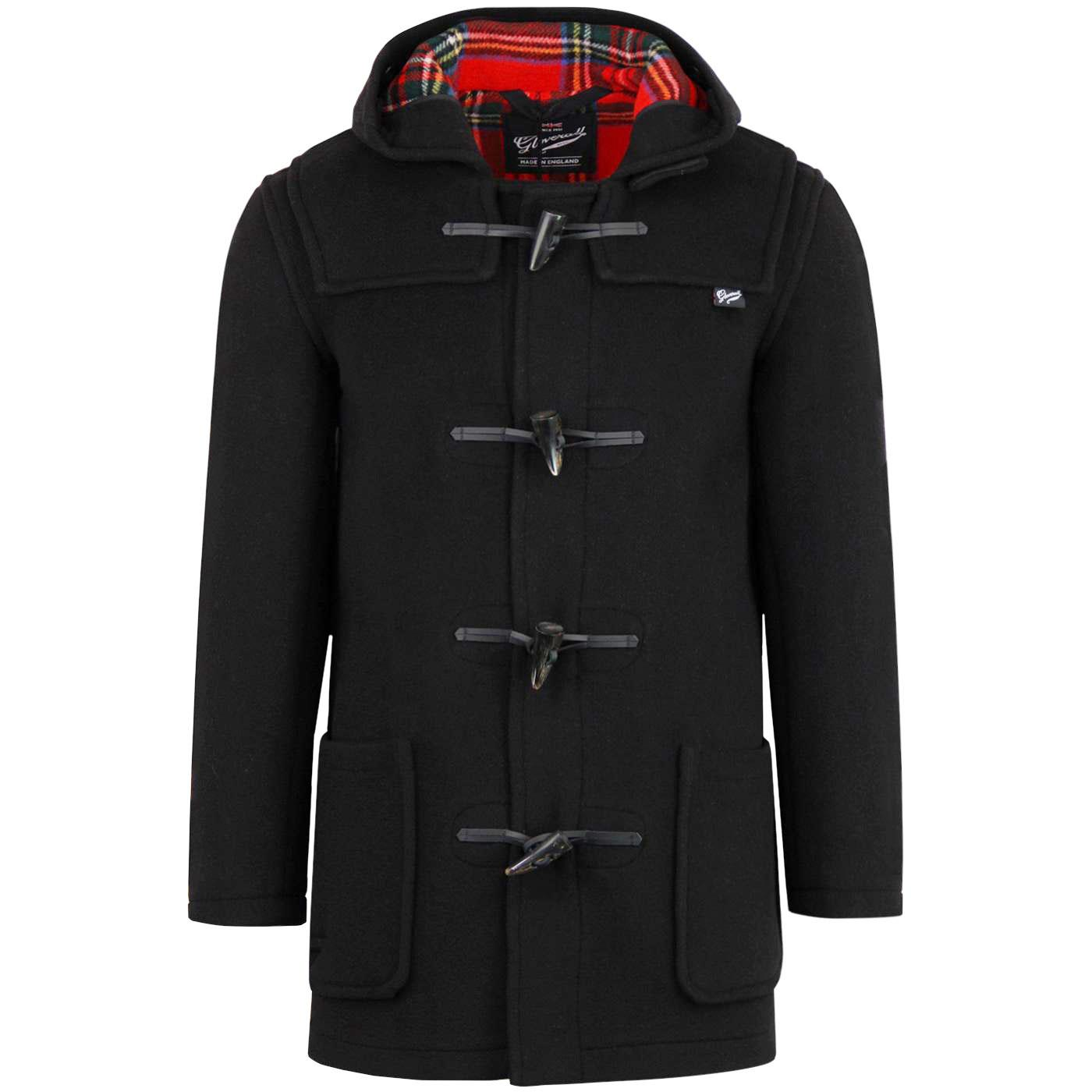 GLOVERALL Mid Length Tartan Lined Duffle Coat