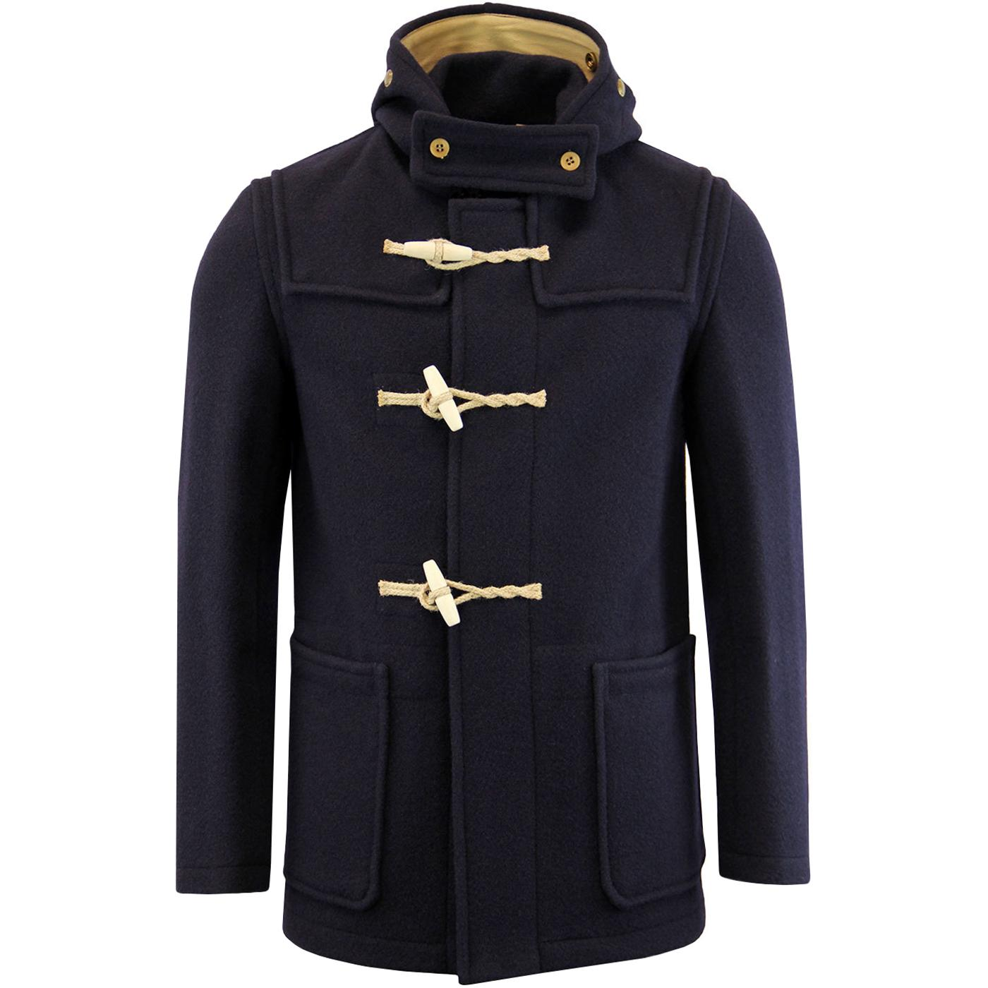GLOVERALL Mid Monty Retro 1960s Mod Wool Blend Duffle Coat Navy
