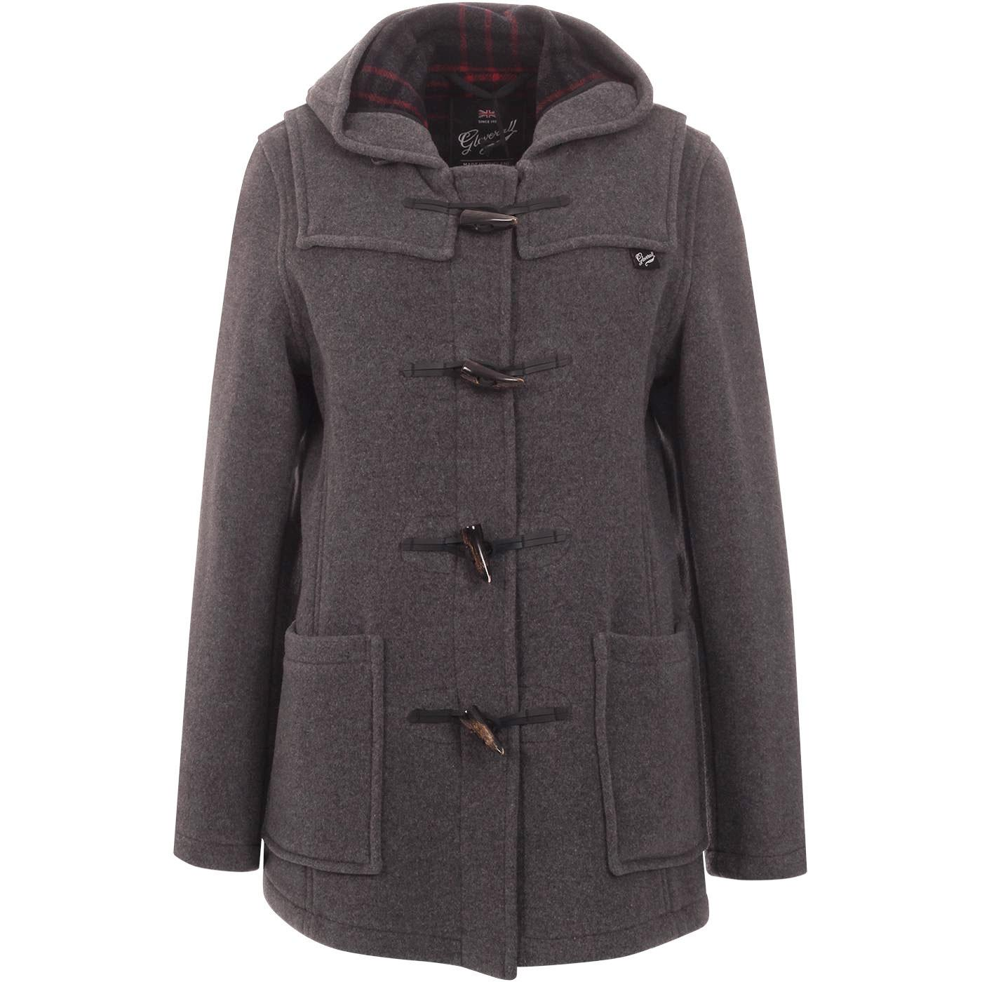 GLOVERALL Women's Retro Slim Fit Duffle Coat GREY