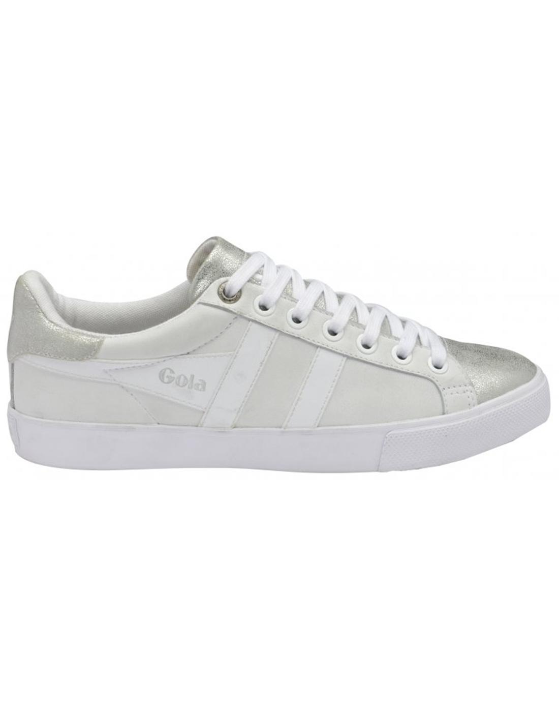 Orchid Metallic GOLA Womens Retro Trainers Silver
