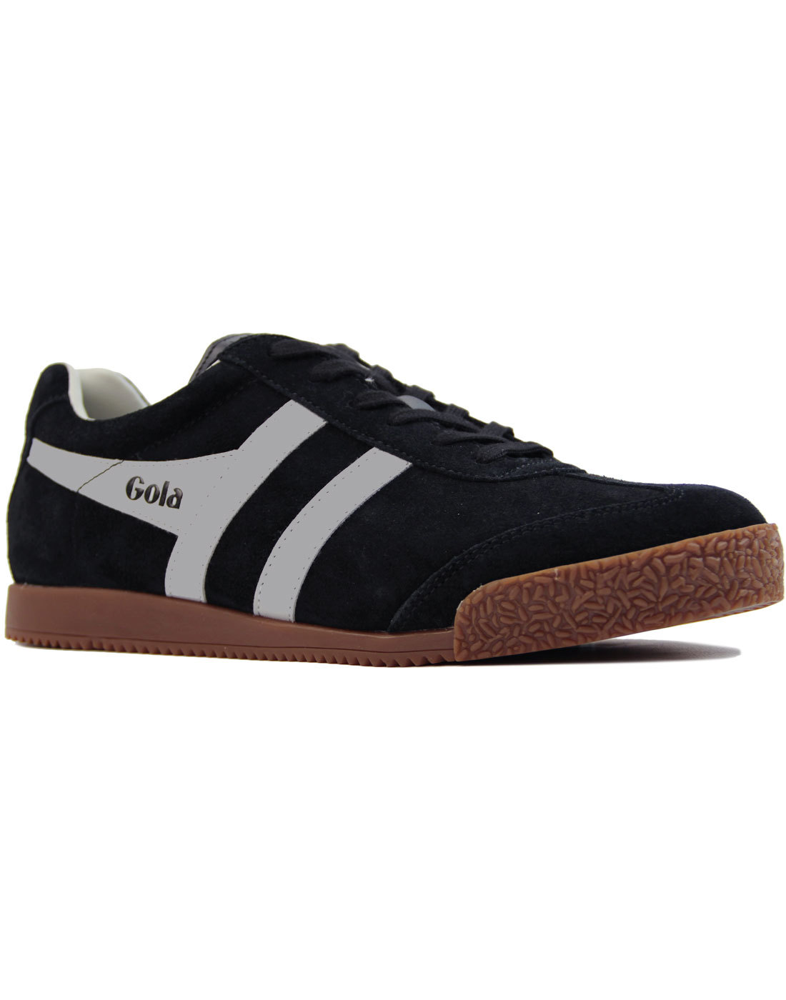 GOLA Harrier Suede Retro 1970s Trainers BLACK/GREY