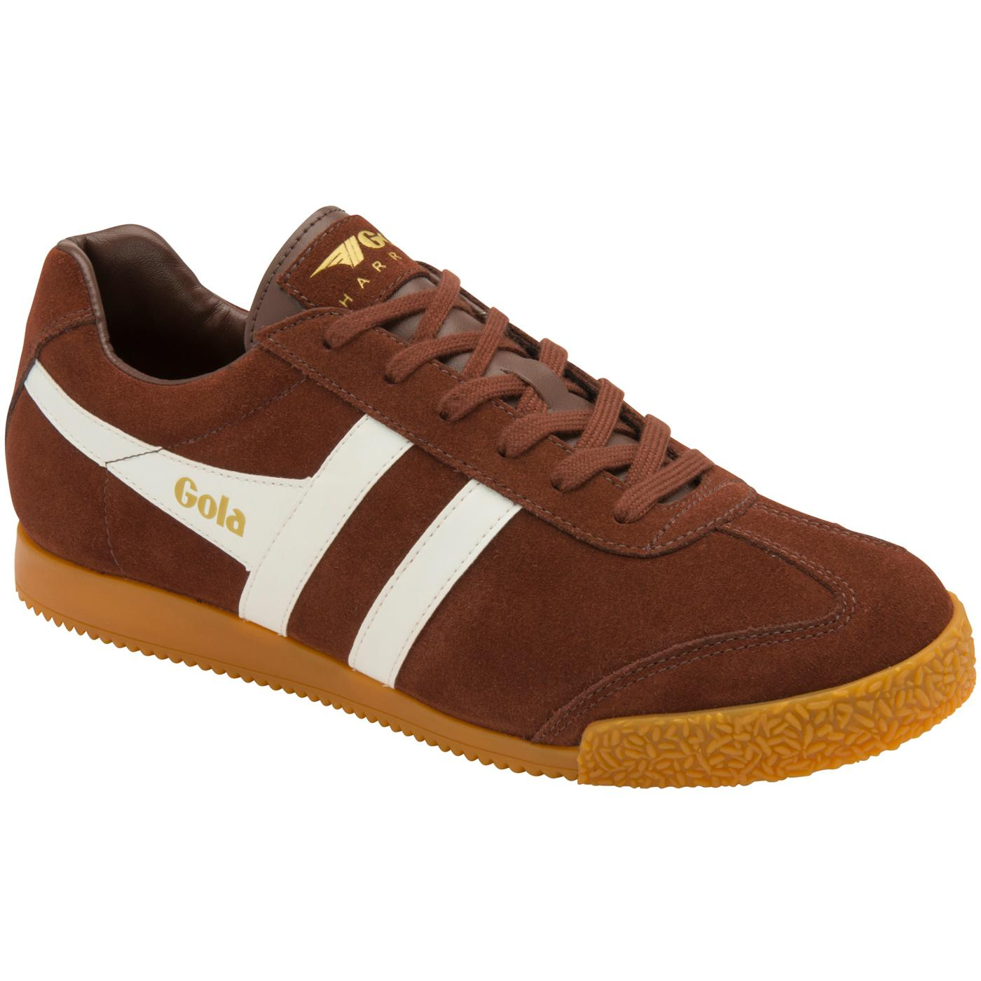 GOLA Harrier Suede Mens Retro 70s Trainers COGNAC