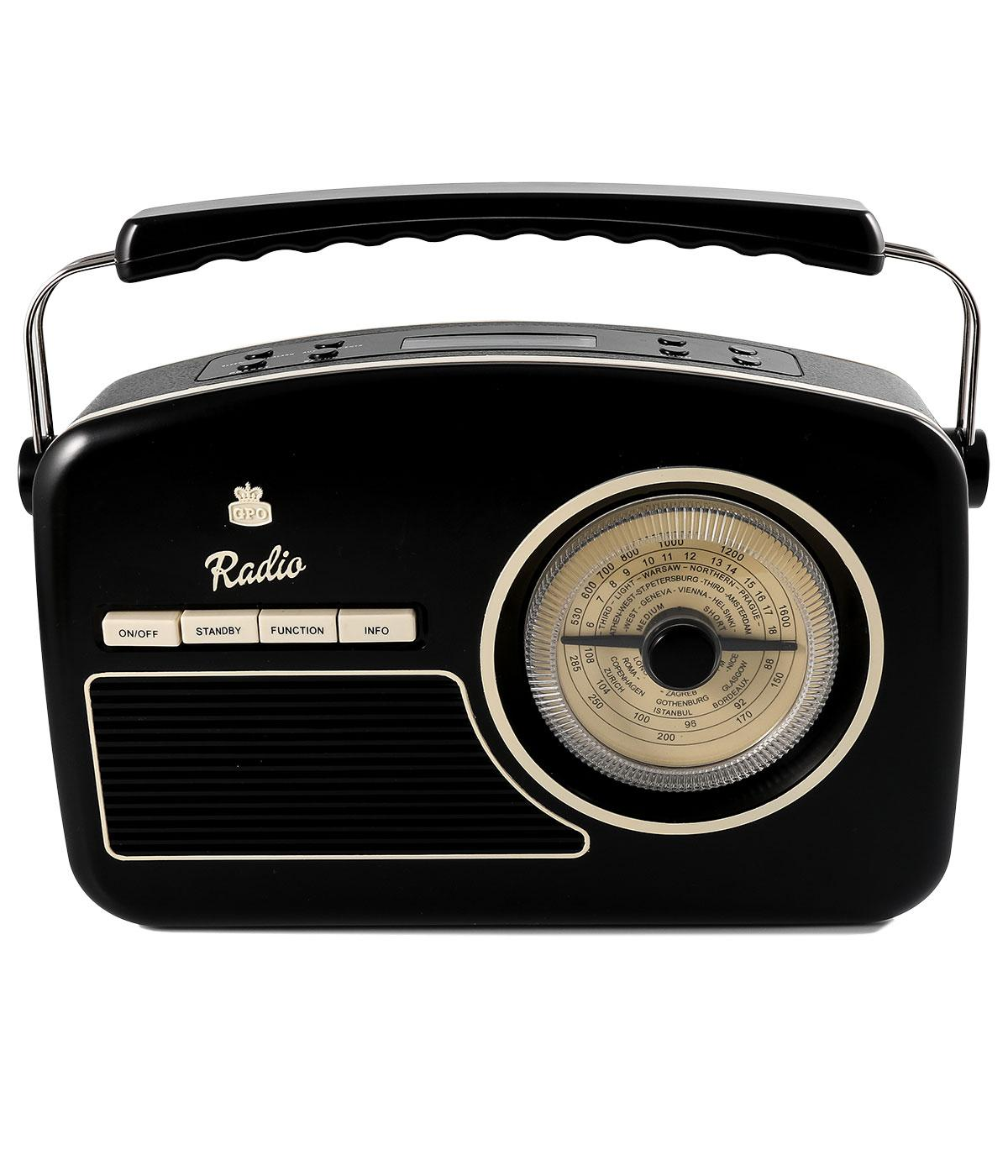 gpo retro vintage 50s style rydell dab radio in black. Black Bedroom Furniture Sets. Home Design Ideas
