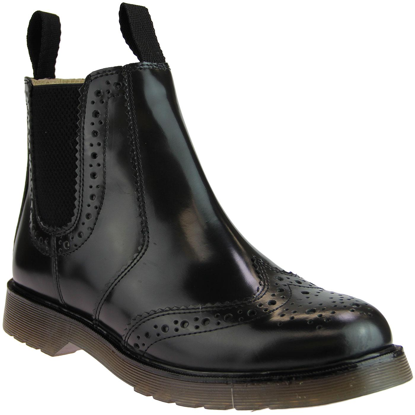 Men's Retro Mod Leather Brogue Chelsea Boots BLACK
