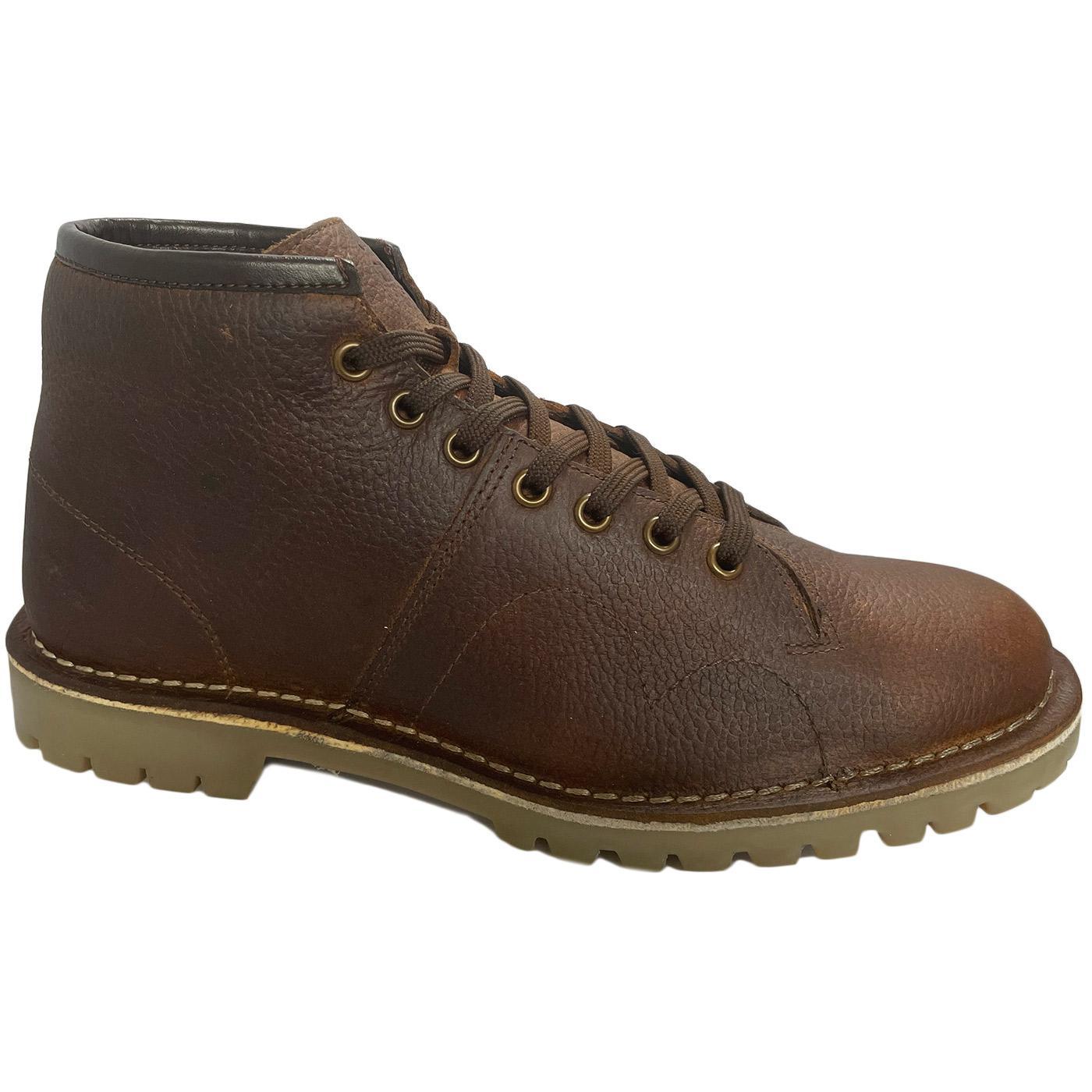 Men's Retro Mod Tumbled Leather Monkey Boots BROWN
