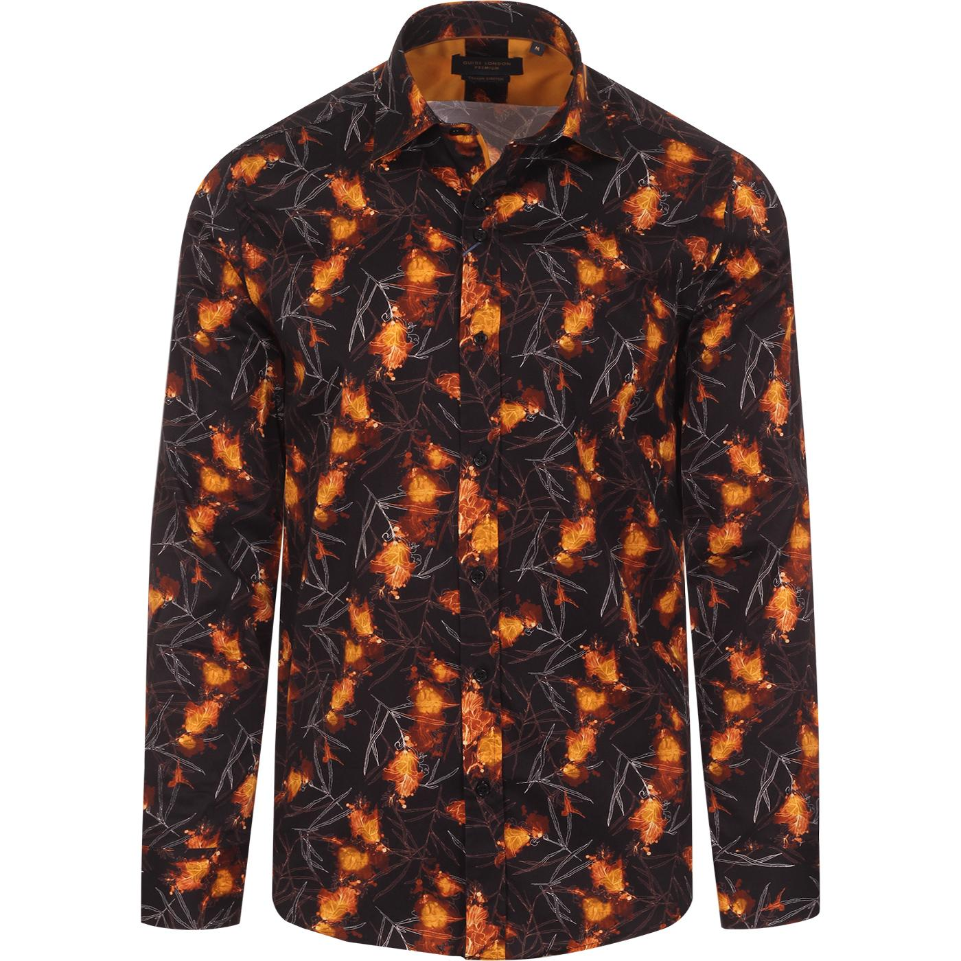 Flaming Flowers GUIDE LONDON 60s Mod Shirt (Black)