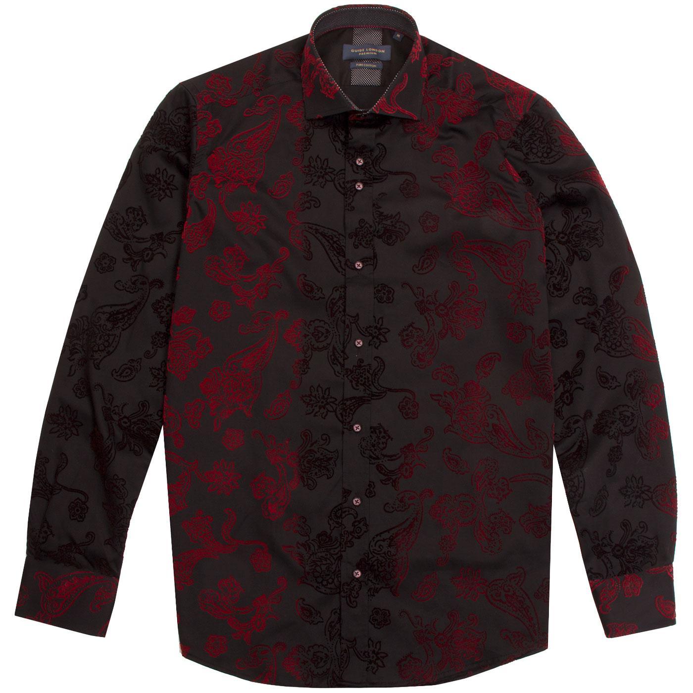 GUIDE LONDON Men's Baroque Floral Paisley Shirt