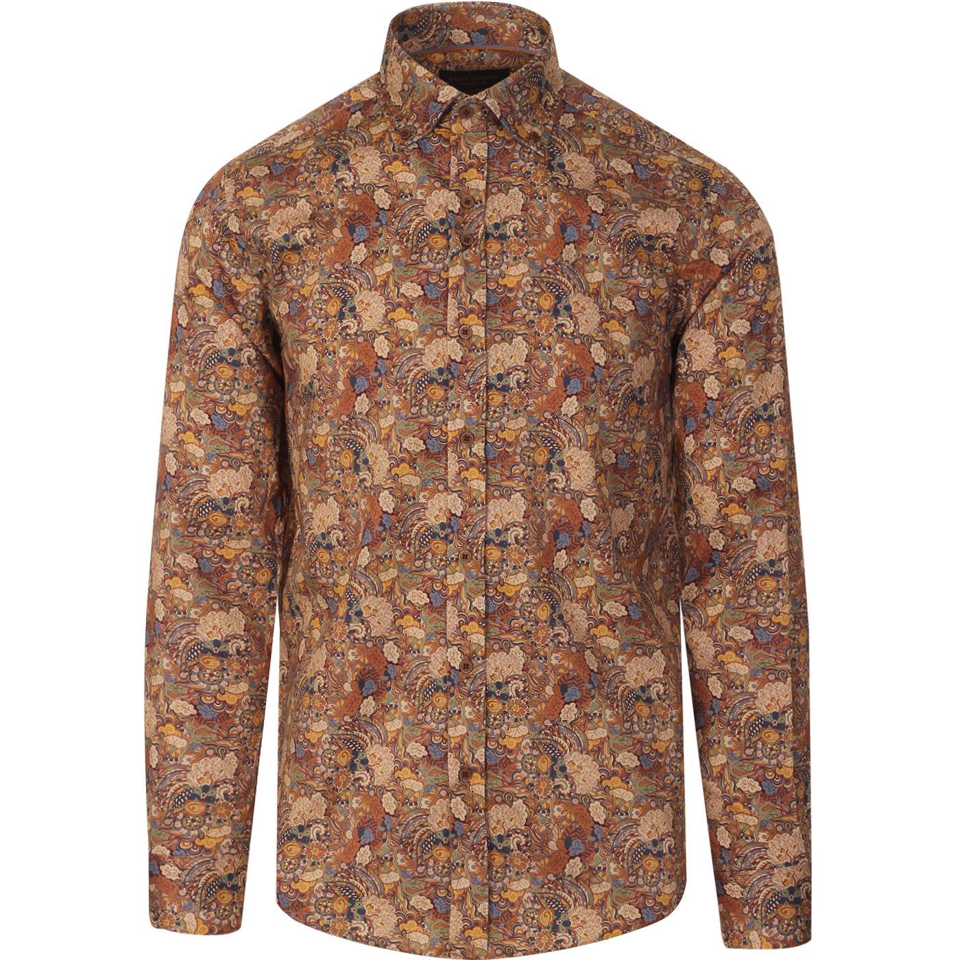GUIDE LONDON Mod Vintage Floral Paisley Shirt