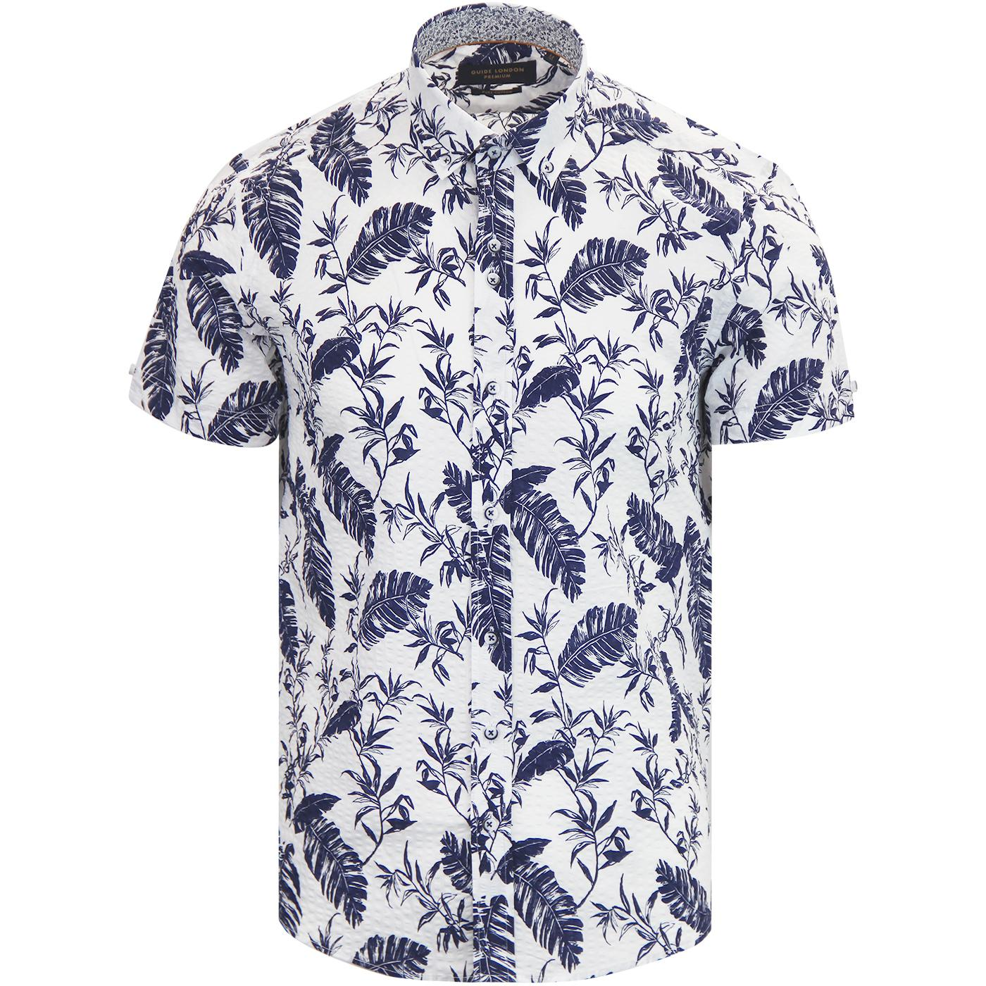 GUIDE LONDON Retro S/S Seersucker Leaf Print Shirt