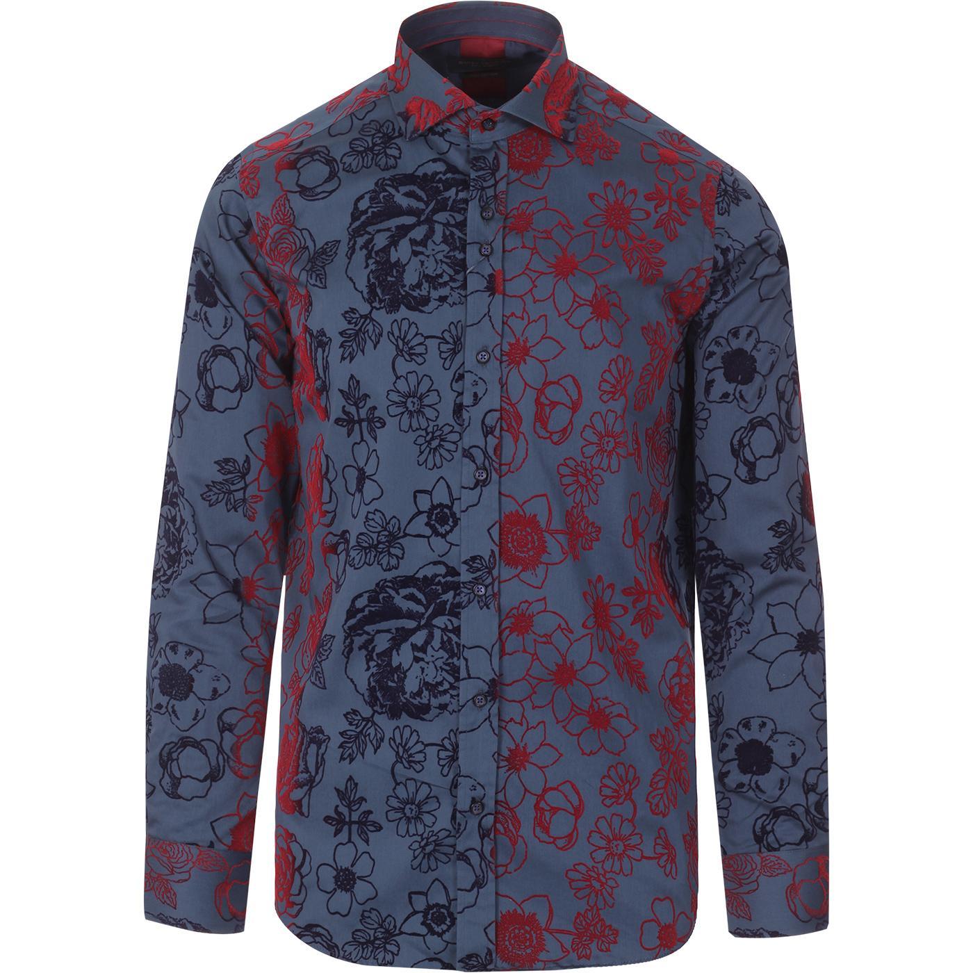 Flock Floral GUIDE LONDON 60s Mod Smart Shirt N/R