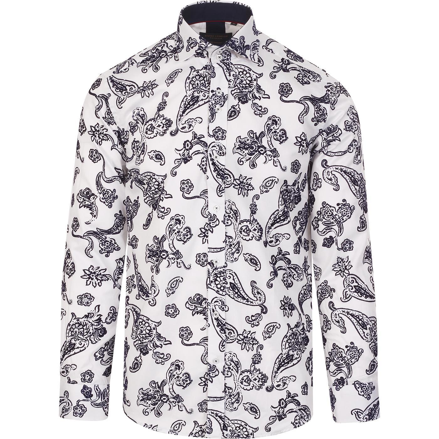 GUIDE LONDON Retro Flock Floral Paisley Shirt (W)
