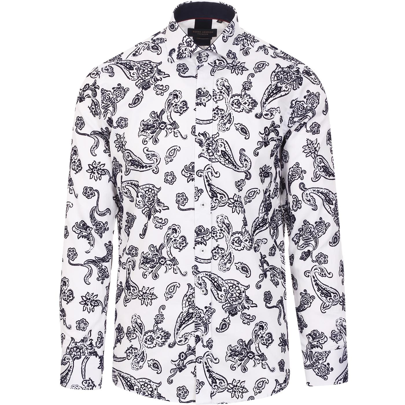 GUIDE LONDON Flock Paisley Baroque Print Shirt (W)