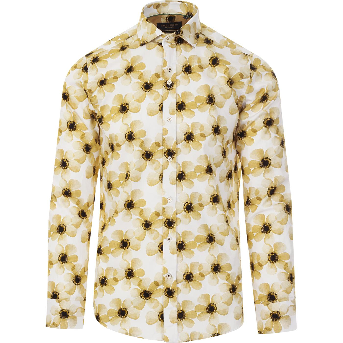 GUIDE LONDON Retro 70's Bold Flower Print Shirt Y